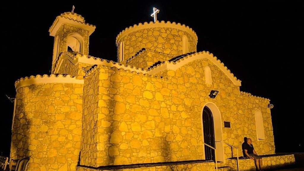 Ночная подсветка церкви Пророка Ильи, Церковь Пророка Ильи, Протарас, Кипр